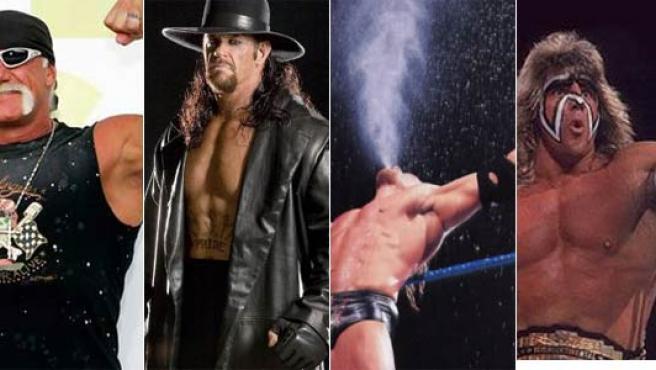 De izda a dcha: Hulk Hogan, El Enterrador, Triple H y El Último Guerrero.