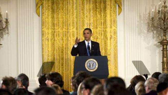 Obama en la rueda de prensa que ofreció este jueves en la Casa Blanca.
