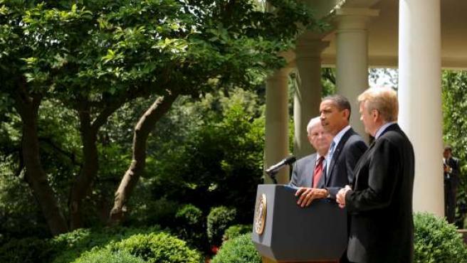 El presidente de EE UU, Barack Obama, comparece en la Casa Blanca.