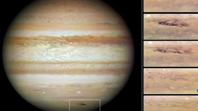 Una imagen de la mancha sobre Júpiter captada por los telescopios.