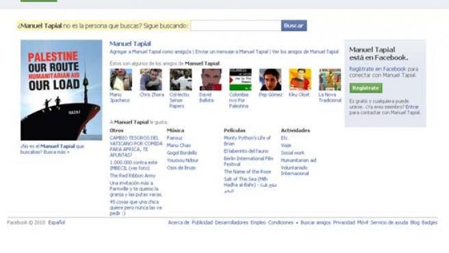 Perfil público de Manuel Tapial en la red social.
