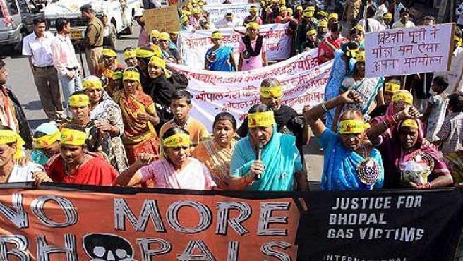 Una marcha para reivindicar justicia a las víctimas del desastre de Bhopal.