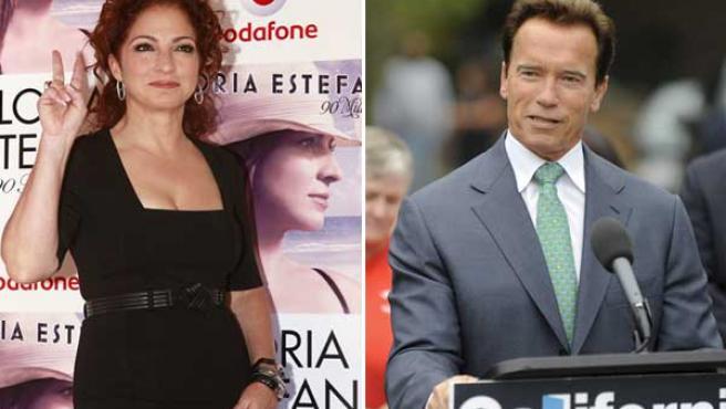 Gloria Estefan y Arnold Schwarzenegger.