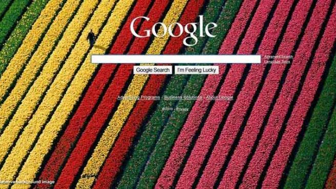 Un ejemplo de la nueva página de inicio de Google.