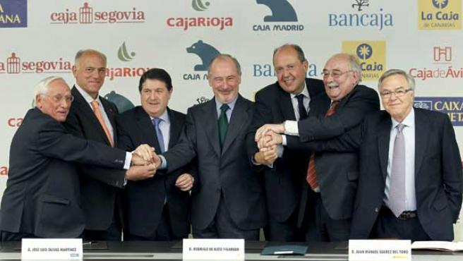 Atilano Soto (Caja Segovia); Agustín González (Caja Ávila); José Luis Olivas (Bancaja); Rodrigo Rato (Caja Madrid), Juan Manuel Suárez, (Caja Insular de Canarias); Jaume Boter (Caixa Layetana), y Fernando Beltrán, (Caja Rioja).