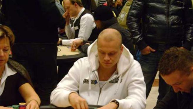 El jugador de poker durante una partida.