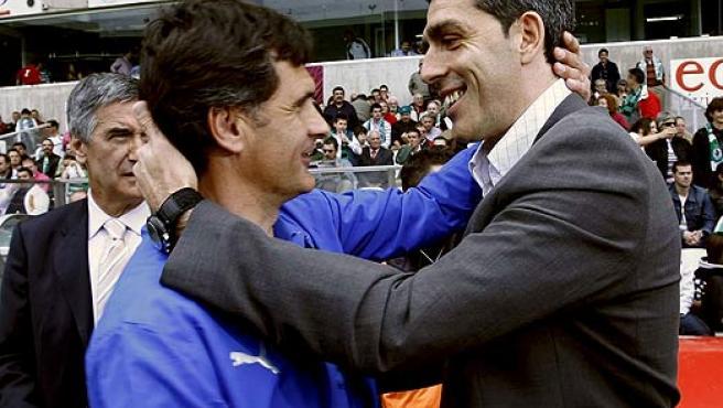 Juan Ramón López Muñiz (derecha), en una imagen de archivo junto a José Luis Mendilibar.