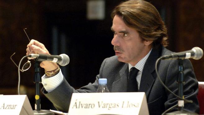 José María Aznar, durante una conferencia.