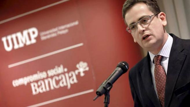 El presidente del PP en el País Vasco, Antonio Basagoiti, durante una conferencia.