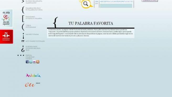 """Captura de la web de la votación de """"tu palabra favorita"""", en la web del Día E."""