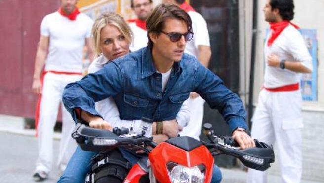 Tom Cruise y Cameron Díaz durante el rodaje de Noche y día.