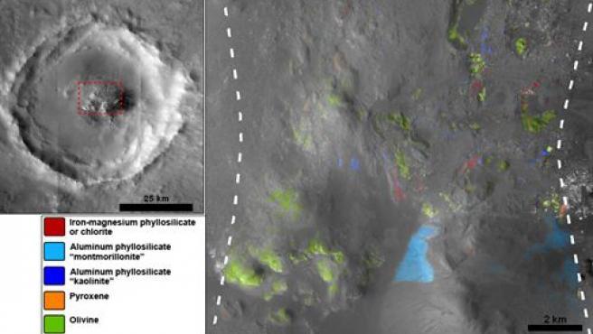 Depósitos minerales en el norte de Marte.