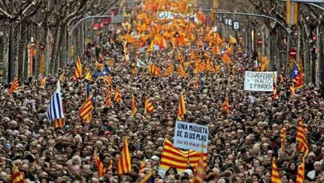 Manifestación en Barcelona a favor del Estatut.