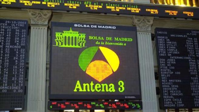 La Bolsa de Madrid, durante el estreno de Antena 3 en el mercado de valores.