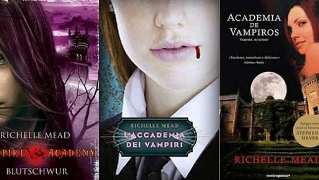Portadas en diferentes países de 'Vampire Academy'.