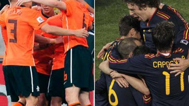 Las selecciones de Holanda y de España durante el Mundial de Sudáfrica.