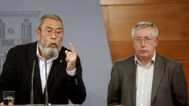 Los secretarios generales de UGT, Cándido Méndez, y de CC OO, Ignacio Fernández Toxo.