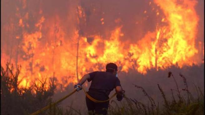 Un bombero trabajando en pleno incendio
