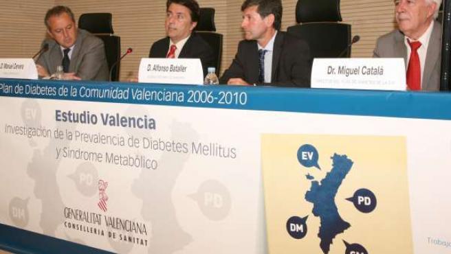 El conseller Manuel Cervera durante la presentación del Estudio Diabetes