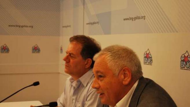 El portavoz nacional del BNG, Guillerme Vázquez, y el ex alcalde de Gondomar, An