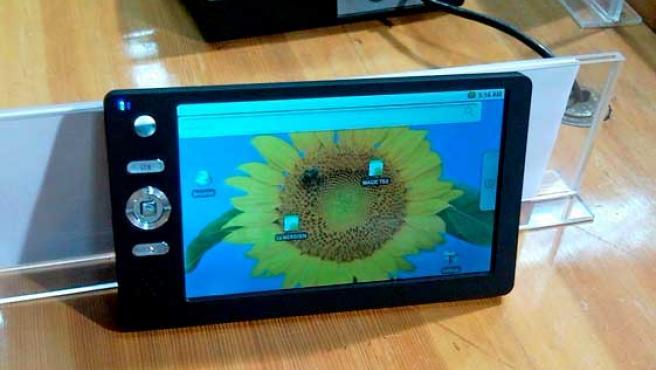 Imagen de la tableta con conexión a Internet creada en India.