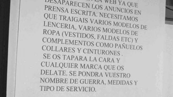 La dirección había convocado a las chicas a una sesión de fotos para promocionar los servicios en la Red ante la intención de Zapatero de vetar los anuncios en prensa.