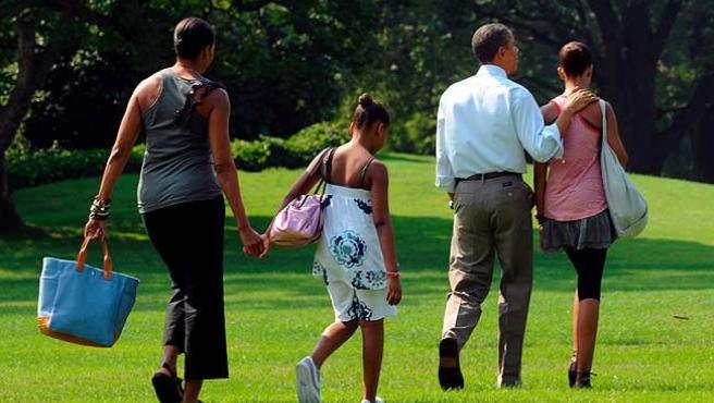 La Familia Obama, durante un viaje reciente.