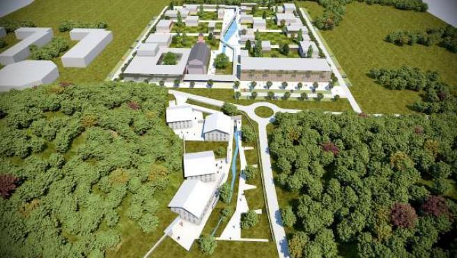 Recreación del futuro parque empresarial, educativo y cultural de Lekaroz.