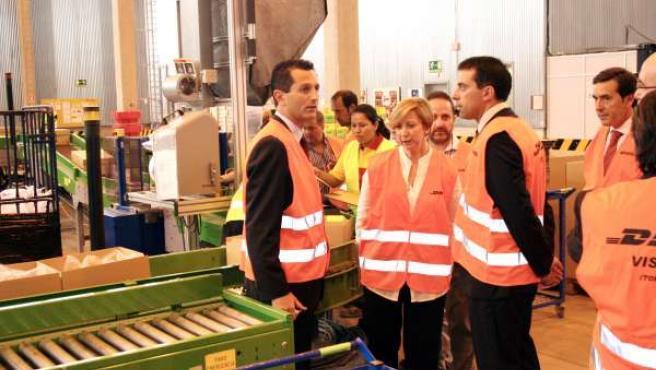 Araújo durante su visita a la factoría