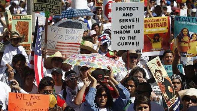 Manifestación en Phoenix contra la Ley migratoria de Arizona, EE UU.