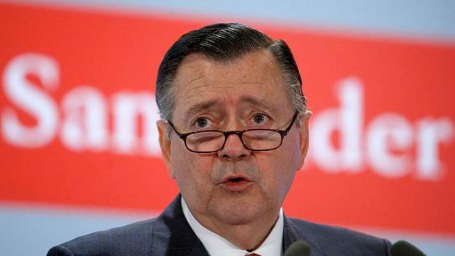 El vicepresidente y consejero delegado del Banco Santander, Alfredo Saez, durante la presentación de los resultados del primer semestre.