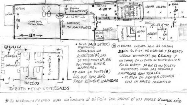 Imagen del mapa del CIE de Valencia, hecho por Elvin Rodríguez y en el que explica la situación de los internos en el centro.