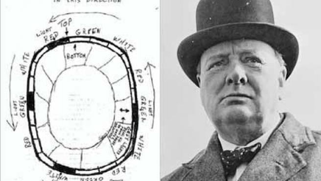 Un de los dibujos de avistamiento de ovnis que Churchill (a la derecha de la imagen) ocultó.
