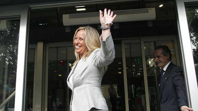 Trinidad Jiménez, tras anunciar su candidatura a la presidencia de Madrid.