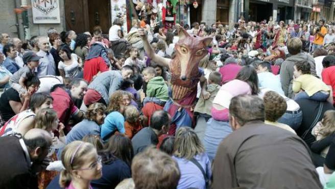 Imagen de un pasacalles en Pamplona.