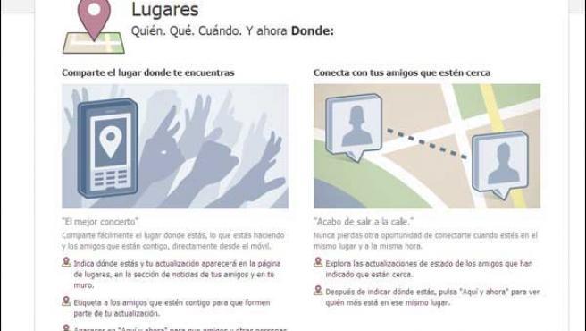 Explicación del servicio 'Places' en la web de Facebook.