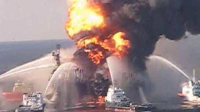 Imagen del vertido de petróleo tras el hundimiento de la planta petrolífera de BP en el Golfo de México.