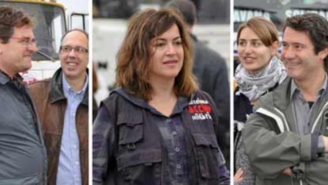 Roque Pascual Salazar (i), Alicia Gámez y Albert Vilalta, los tres voluntarios españoles que fueron secuestrados a unos 150 kilómetros de Nuakchot.