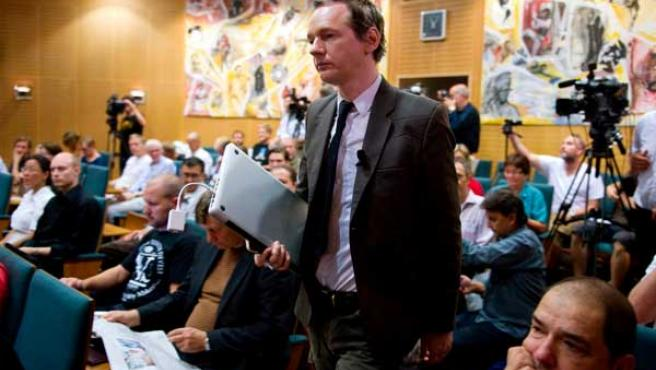 El fundador de Wikileaks, Julian Assange, durante un seminario en Estocolmo (Suecia).