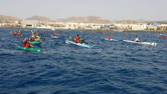 Imagen de la primera jornada de la Vuelta a Fuerteventura en Kayak