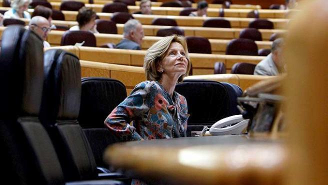 La vicepresidenta segunda del Gobierno, Elena Salgado, durante un pleno del Senado.
