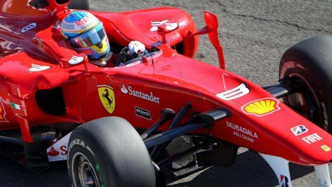Fernando Alonso, piloto de Ferrari, durante los entrenamientos del Gran Premio de Italia.