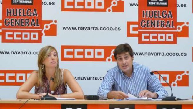 Rueda de prensa de CCOO de Navarra sobre la reforma laboral.