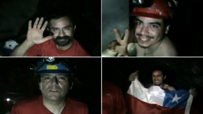 Combo de imágenes capturadas de un vídeo de cuatro de los 33 mineros atrapados saludando en el yacimiento San José, cerca a Copiapó (Chile).