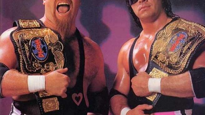 Jim Neidhart y Bret Hart, en una imagen de los 90, formando la pareja 'Hart Foundation'.