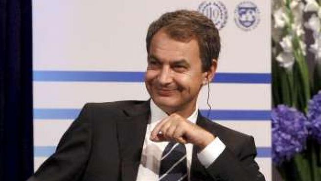 José Luis Rodríguez Zapatero,en la conferencia del Fondo Monetario Internacional (FMI) y la Organización Internacional del Trabajo (OIT) en Oslo.
