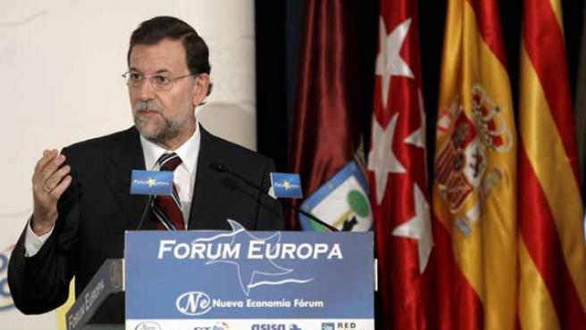 El presidente del PP, Mariano Rajoy, durante su intervención en el Fórum Nueva Economía.