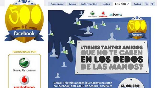 Pantallazo de la promoción 'Los 500 de Facebook'.