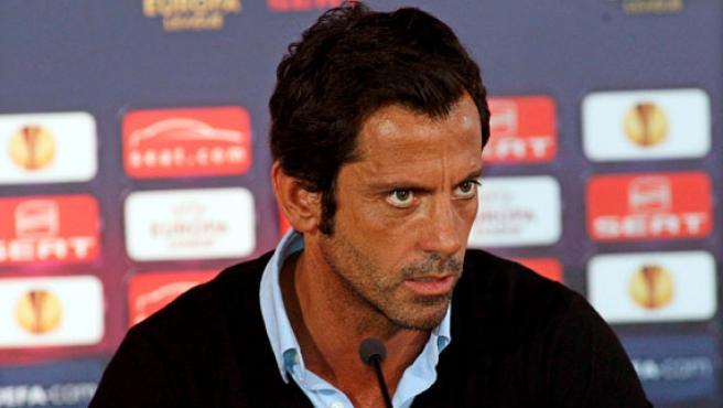 Quique Sánchez Flores, entrenador del Atlético de Madrid, en rueda de prensa.