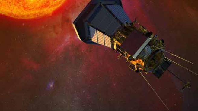 Imagen cedida de la nave espacial Solar Probe Plus con el sol de fondo.